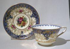 Royal Worcester Floral Teacup & Saucer Handpainted Artist Signed Millie Hunt
