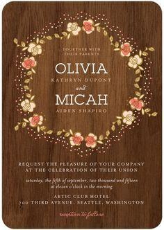Retro Wreath - Signature White Wedding Invitations in Sorbet or Mist | Night Owl Paper Goods