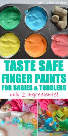 Two Ingredient Taste Safe Finger Paint - HAPPY TODDLER PLAYTIME Looking for an easy to make recipe for taste safe finger paints for your baby or toddler? Check out this recipe that only requires 2 ingredients. #toddler #toddleractivities #babyactivities