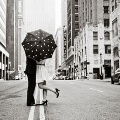 love this black and white shot w/ polka dot umbrella