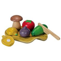 """Our tasty Assorted Vegetables Set by Plan Toys will add a nutritious note to your child's kitchen pretend play. We love this set for its sturdy construction, clever """"sliceable"""" veggies, and eco-friendly materials. Wooden Play Food, Wooden Toy Kitchen, Toy Kitchen Set, Wooden Toys, Toddler Toys, Baby Toys, Discovery Toys, Plan Toys, Stuffed Mushrooms"""