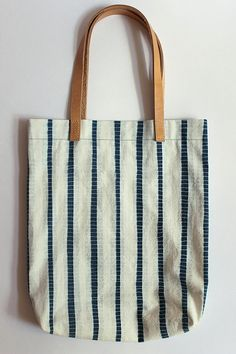 Striped Shibori Hand Dyed Cotton Tote Bag Shoulder Bag by Rejell