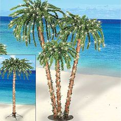Six foot lighted palm trees complete with up to 800 white pre-strung lights (onthe triple) add a festive island glow to gatherings during the Holidays indoorsor outside year round. Easy assembly.