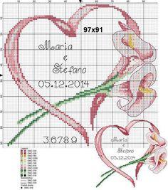 "Photo from album ""Схемы для Вышивки / Schemi punto croce"" on Yandex. Just Cross Stitch, Cross Stitch Heart, Cross Stitch Cards, Cross Stitch Flowers, Cross Stitching, Cross Stitch Embroidery, Embroidery Patterns, Wedding Cross Stitch Patterns, Cross Stitch Designs"