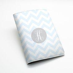 03826fccc Custom Personalised chevron zigzag pu leather Passport Holder Case Cover --  light blue chevron