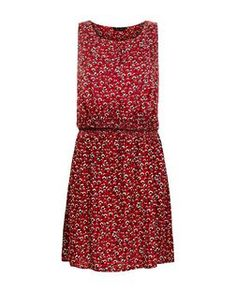 Red Ditsy Floral Sleeveless Dress | New Look
