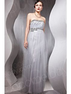 Fashion A-Line Strapless Empire Floor Length Tulle Silver Side Zipper Evening Dress with Sashes and Sequin COSF14073 $98.00 evening dress, evening dress, evening dress, evening dress, evening dress, evening dress