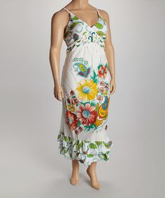Look at this #zulilyfind! White & Lime Paisley Floral Maxi Dress - Plus by Life and Style Fashions #zulilyfinds