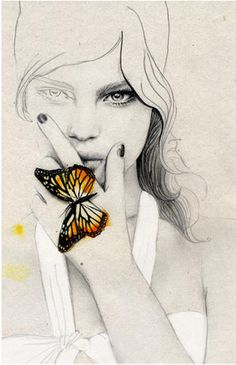 I love how there's really no color except for the butterfly. It draws your eyes there. And how the girl is fading on one side, and she looks quite pensive.