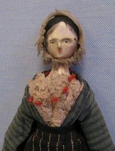"""13"""" Antique c1830 TUCK-COMB PEG-WOODEN Doll"""