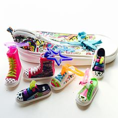 """Tiny Sneakers: 6 little """"Sketchers"""" Twinkle Toes sneakers in a zipper sneaker pencil bag.  Unique craft findings for repurposing S34 by PaperAndRagVintage on Etsy https://www.etsy.com/listing/271098122/tiny-sneakers-6-little-sketchers-twinkle"""