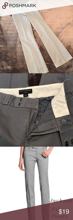 """Banana Republic Jackson Fit long pant Banana Republic """"Jackson Fit"""", straight leg pant with hemmed cuff. Extremely comfortable, pleated, in Size 6 long. Slate gray in color as seen in the second picture. Pre-loved in great condition. Banana Republic Pants"""