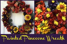 surf2create: Painted Pinecone Wreath This project is worth the time!! LOOK at the results! If you are interested in learning how to make this beautiful painted pinecone wreath, check out my blog! Painted Pinecones, Create And Craft, Pine Cones, About Me Blog, Craft Ideas, Wreaths, Learning, Check, Projects