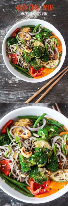 the 4 Cycle Solutions Japanese Diet - yasai chilli men is a simple japanese fusion dish inspired by wagamama… Discover the Worlds First & Only Carb Cycling Diet That INSTANTLY Flips ON Your Bodys Fat-Burning Switch Whole Food Recipes, Diet Recipes, Cooking Recipes, Healthy Recipes, Vegan Diner, Carb Cycling Diet, Japanese Diet, Vegetarian Japanese Food, Le Chef