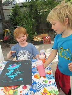 Puffy Paint    1 c. salt  1 c. flour  1 c. water  a healthy squirt of food coloring or tempera paint.    Put in squeeze bottles for Puffy Paint Paradise.