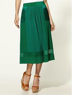 Patched Silk Jaquard Skirt  by Rebecca Taylor