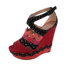 New Azzedine Alaïa Suede Studded Platform Wedge Shoes   From a collection of rare vintage shoes at http://www.1stdibs.com/fashion/clothing/shoes/