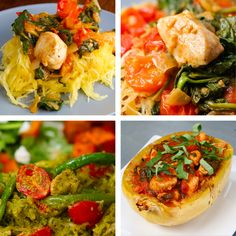 Spaghetti Squash and Turkey meatballs. These Four Spaghetti Squash Recipes Are Great Low-Carb Dinner Options Vegetable Dishes, Vegetable Recipes, Chicken Recipes, Healthy Cooking, Healthy Eating, Clean Eating, Pasta Dishes, Food Dishes, Paleo Recipes