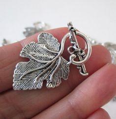 Silver Toggle Leaf Clasp  Grape Leaf Clasp  One by BijiBijoux