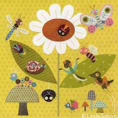 Eleven Bugs A Buzzing Print 13 x 19 by Linda Solovic on Etsy, $40.00