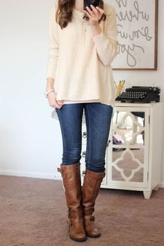 Potter Button Back Sweater from En Crème and Sophia Skinny Jeans from Kensie - Stitch Fix.   Yes please..the whole outfit!