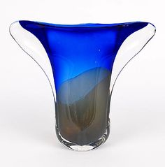 Found on www.botterweg.com - Fading to blue glass Unica vase AH 519 with clear glass overlay design Floris Meydam 1955 executed by Glasfabriek Leerdam / the Netherlands