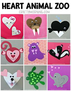 Valentine's Day Heart Shaped Animal Crafts For Kids - Crafty Morning Make a whole heart animal ZOO! Cute paper crafts for the kids to make on valentines day! Valentine's Day Crafts For Kids, Valentine Crafts For Kids, Animal Crafts For Kids, Valentines Day Activities, Holiday Crafts, Kids Animals, Paper Animals, Kids Diy, Paper Animal Crafts