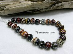 MandrelGirl -Handmade Lampwork- 24 Glass Beads w/ 92.5Silver- Burgandy Sand -Set
