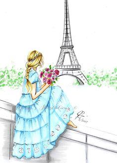 Pretty in Paris (Fashion Illustration Print) (Fashion Illustration Art Fashion Sketch prints Home Decor Wall Decor ) Hair Fashions Cool Art Drawings, Easy Drawings, Art Sketches, Paris Illustration, Illustrations, Paris Drawing, Best Friend Drawings, Paris Wallpaper, Megan Hess