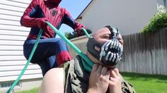 SPIDERMAN AND GREEN SPIDERMAN VS BANE |  IN REAL LIFE |   SUPERHERO FIGH...