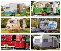 Recortes Decorados: Caravanas: Mi casa va conmigo. Vintage Caravans, Vintage Trailers, Vintage Campers, Camper Trailers, Camper Van, Cabins And Cottages, House On Wheels, Motorhome, Glamping