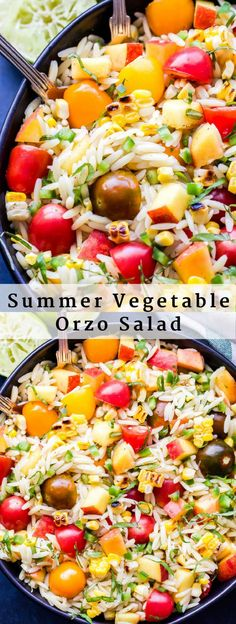 Summer Vegetable Orzo Salad is full of summer's best produce! Tomatoes, corn, peaches, basil and orzo all tossed together in a honey lime dressing. A light and healthy pasta salad you'll love! #salad #orzo #tomatoes #peaches #vegan #healthyrecipe
