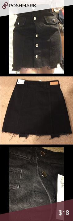 ZARA DENIM MINI SKIRT SZ-S New with tags Zara Denim Mini Skirt with Buttons  Size -Small Has 3rd front button missing as seen in 3rd photo  Some buttons might have tiny scratches on the buttons as shown in last photo, nothing major and doesn't affect the skirt at all Zara Skirts Mini