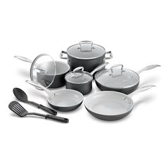 GreenLife Classic Pro Hard Anodized Healthy Ceramic Nonstick Metal Utensil Safe Dishwasher/Oven Safe Cookware set Grey * Check out the image by visiting the link. (This is an affiliate link) Safest Cookware, Kitchen Cookware Sets, Ceramic Non Stick, Copper Glass, Utensil Set, Dishwasher, Ceramics, Metal, Souvenir