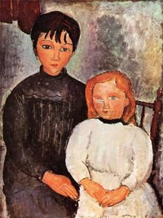 AMEDEO MODIGLIANI TWO CHILDREN OLD MASTER ART PAINTING PRINT 12x16 inch