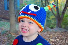 My Merry Messy Life: Crochet Monster Hat Free Pattern - Toddler to Child Sizes