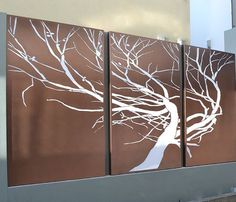 The Equesetti Tree is a unique outdoor wall feature and can be custom made to most sizes in one, 3 or 7 panel options. This design can also be made as a lightbox feature. The screens are laser-cut and can be made from;     	 Aluminium Lightweight and non corrosive. Powder coating available in a range of colours. 	Corten Steel A self-sealing steel that develops a unique patina as it ages. It will leach (drip rust) when wet. 	Stainless Steel Brushed or mirrored (indoors only) finish…