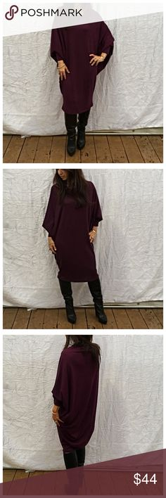 Purple loose fit dress Gorgeous loose dolman sleeve loose fit dress PLEASE Use the Poshmark new option you can purchase and it will give you the option to pick the size you want ( all sizes are available) BUNDLE and save 10% ( no trades price is firm unless bundled) Dresses