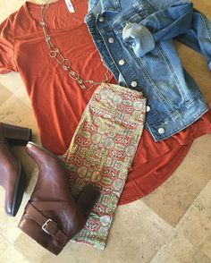 LuLaRoe printed leggings, burnt orange Classic tee, denim jacket, ankle boots. Perfect Fall Outfit!
