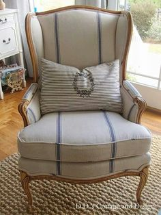 "I Found My Style Sundays- D.'s Cottage and Design Wing chair with exposed wood, upscale casual linen upholstery . A great ""Rustic Elegance"" look.Wing chair with exposed wood, upscale casual linen upholstery . A great ""Rustic Elegance"" look. Chair Upholstery, Upholstered Furniture, Home Furniture, Furniture Design, Country Furniture, Furniture Dolly, French Furniture, Plywood Furniture, Chair Cushions"
