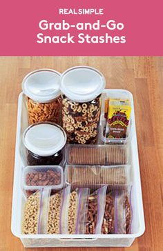 "Grab-and-Go Snack Stashes | Set up these self-serve stations so kids never again have to plead, ""Mom...?"" when a snack attack hits."