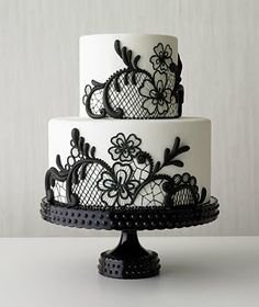 Black lace wedding cake - Best of wedding cakes 2009 - Real Simple Magazine Black And White Wedding Cake, Black Wedding Cakes, Black White, Pretty Black, Red Wedding, Wedding Summer, Wedding Art, Gothic Wedding Cake, Gothic Cake