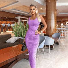 """This ruched bodycon dress is a huge hit on fashion runways this season."" #ruchedbodycondress #partydress Dresses For Less, Tight Dresses, Summer Dresses, Backless Long Dress, Tea Length Dresses, Dress Silhouette, Sexy Party Dress, Tube Dress"