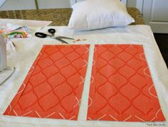 easy No Sew envelope Pillow cover Tutorial Cut the panel in 12 and iron in no-sew hem tape around all sides.