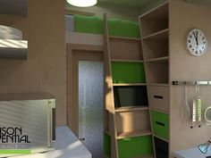 A small set of stairs leads the way to a small loft with an extra bed.