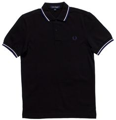 Stand out in this Fred Perry classic! This black pique polo has medieval blue & white stripes on the collar and sleeves and the offers a fit comparable to the but with slightly slimmer proportions. Made from their classic cotton piqué, in a cont Twin Tips, Laurel Wreath, Fred Perry, Cotton Style, Slacks, Looks Great, Medieval, Twins, Polo Shirt