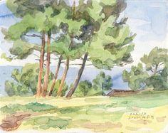 Pine trees at noon watercolor painting art original by Catalina