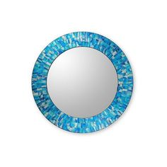 NOVICA Handcrafted Glass Tile Round Wall Mirror ($163) ❤ liked on Polyvore featuring home, home decor, mirrors, blue, wall decor, painted mirrors, glass home decor, blue mirror, handmade home decor and handmade mirrors