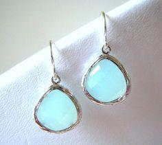 Mint Silver Drop Earring, Aqua Mint Dangle Earrings, Bridesmaid, Aqua Mint Earrings, New Sterling wires on Etsy, $18.00