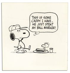 Charles Schulz ''Peanuts'' Original Artwok Starring Snoopy as a Golfer Having Lunch With Woodstock